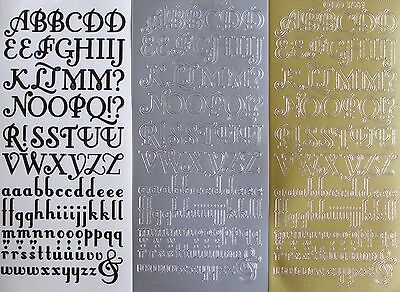 Uppercase & Lowercase Alphabets Calligraphy PEEL OFF STICKERS Alphabet Fancy
