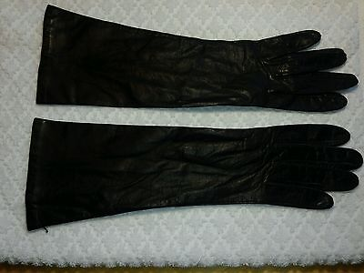 """Vintage Ladies Fownes Fine Imported Leather Gloves Silk Lined 7 Black 13"""" Long"""