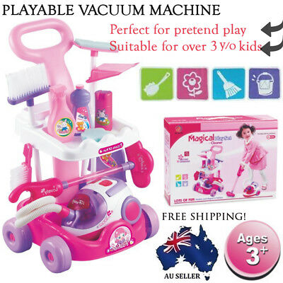 Kids Pretend Play Cleaning Trolley Set Toy Broom Mop Bucket Tools Duster Cleaner