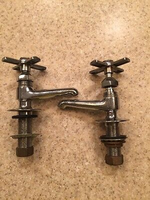 Hot and Cold Antique Brass Chrome Bathroom Sink Faucets Vintage Plumbing