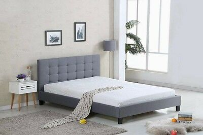 Queen Size Fabric upholstered Bed Frame Grey or Dark Grey New