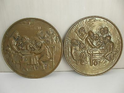 Pair Of Antique Relief Brass Wall Plates