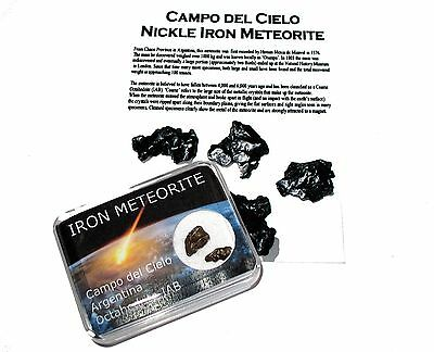 Campo del Cielo iron meteorite fragment colour display case & ID card great item
