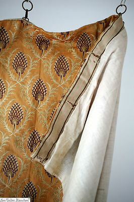 Antique French curtain SILK jacquard INDIENNES BOTEH Persan c1880