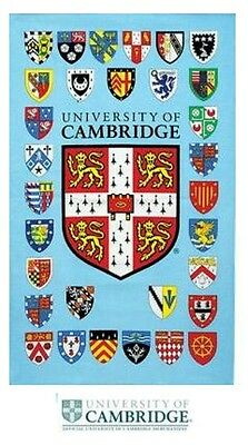 Official University of Cambridge Tea Towel Souvenir Gift College Shields CU Blue