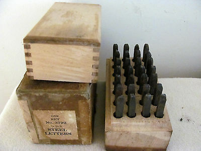 "Vintage Letter Steel Stamp Punch Set 1/8"" Metal Die 28 Piece"