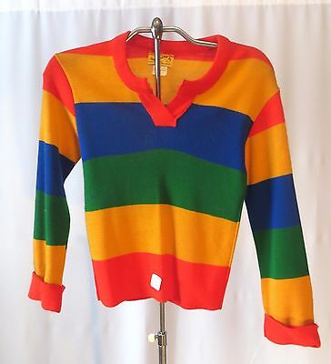 Vintage 70s Kids Girls Sweater w Stripes Dead Stock sz 10/12