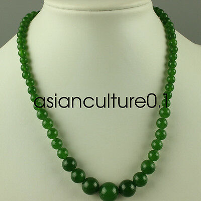 Chinese natural Oriental vintage green Jade Beads Necklace  LMW72