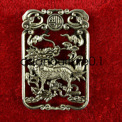 China Decorated Wonderful Miao Silver Carving Lifelike Kylin Rare Lucky Pendant