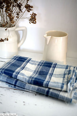 7 yards Vintage French cotton fabric blue CHECK  c1960