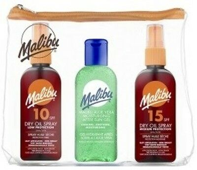 MALIBU 3 PACK DRY OIL SPRAY SPF 10 & 15 + AFTER SUN 100ml