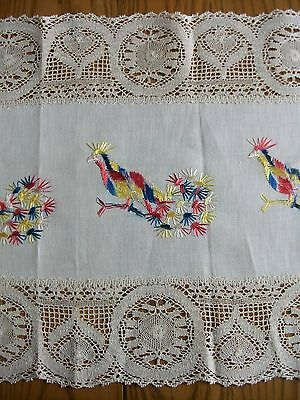 "ANTIQUE 14""x60"" LINEN RUNNER ~ HAND EMBROIDERED ~ PHEASANTS ~ BOBBIN CLUNY LACE"