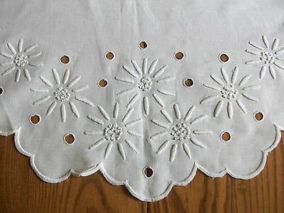 """Pretty 25"""" Antique Centerpiece Doily Or Table Topper ~ White-On-White Embroidery"""
