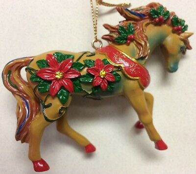 HORSE OF A DIFFERENT COLOR -Red Poinsettias -Christmas Ornament -Marcia Baldwin