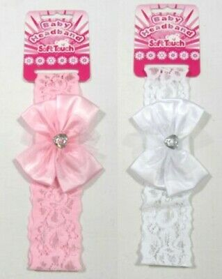Baby Girls Headband Hair Accessories Accessory Wedding Christening Lace Bow NB