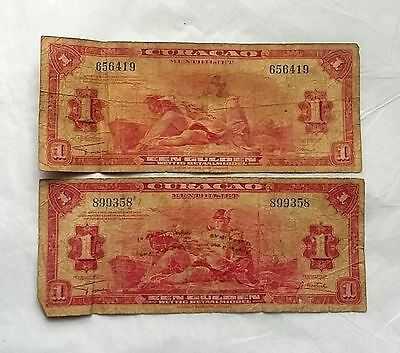 Lot of (2) Een Gulden Banknotes Curacao WWII 1942