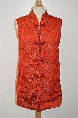 """Lucky"" Asian Silk Hand Embroidered Long Sleeveless Red Vest Women's L"