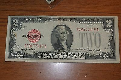 1928-D $2 Two Dollar Red Seal Note Bill