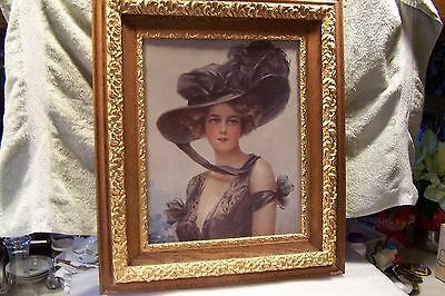 Antique/vintage Very Large Victorian Picture With Solid Oak Frame - Beautiful
