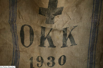Vintage European ARMY GRAIN SACK burlap blue STRIPES c1930