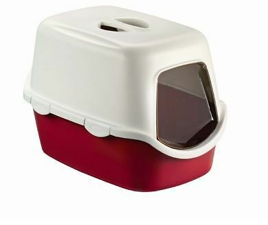 Red Large Cat Litter Tray Hooded Toilet Box with Lid & Filter Inc Flap Door