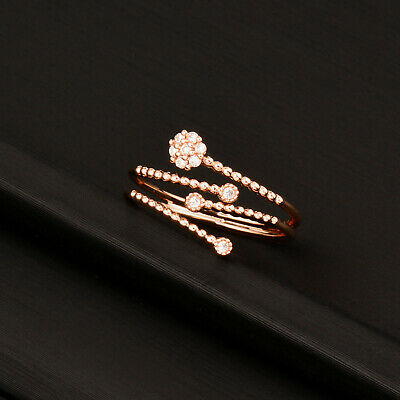 Romantic Tiny Crystal Snowflake Rings 2 Color Adjustable Open Ring Women Jewelry