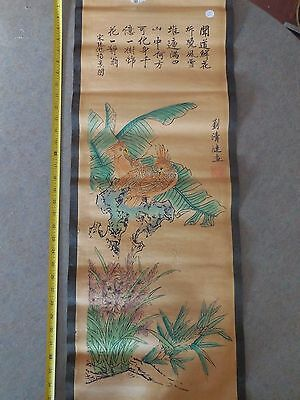 Chinese scroll watercolor on paper of  Birds and flowers