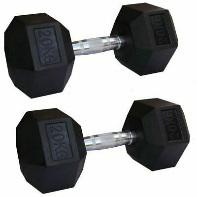 FH Black Rubber Hex Dumbbells Gym Hexabell
