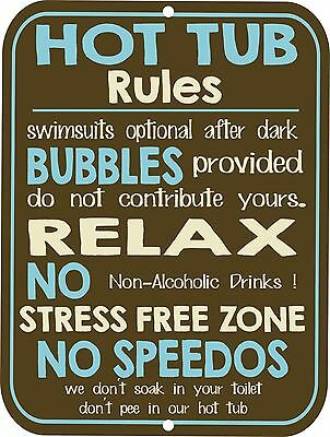 "Retro Vintage Nostalgic Funny Water Swimming HOT TUB Rules Metal Sign 9""x12"""
