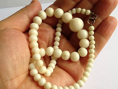 Antique Graduated White Angel Skin Coral Bead Necklace