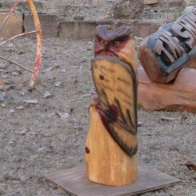 Chainsaw Carving Owl Totem Pole Wood Hand Carved Bird Rustic Cabin Decor
