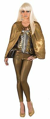 Fantasy Cape Gold Futuristic Lush Fancy Dress Party Female