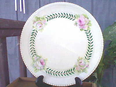 "Antique German Porcelain China Plate Hand Painted Roses 12"" Evc Hutschenreuther"