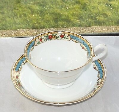 Staffordshire Porcelain Cup and Saucer Turquoise Blue and Red Floral