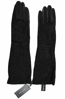 """$115 LORD & TAYLOR Black Suede & Leather 16"""" Long Gloves 8 NWT"""