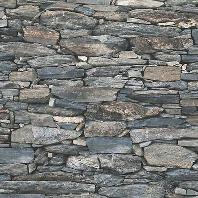 Natural Stone Slate Wall Charcoal Realistic 3d Effect Feature Wallpaper 1281