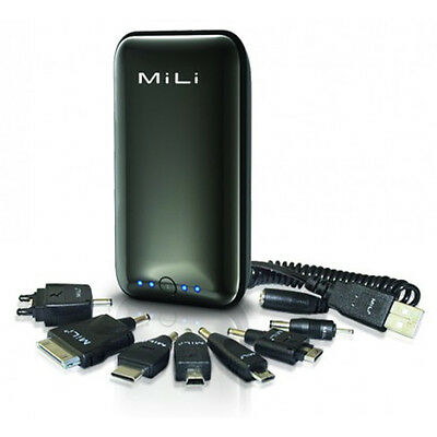 NEW MiLi Black Power Miracle External Power Bank w USB Cable Apple iPhone 4 4S