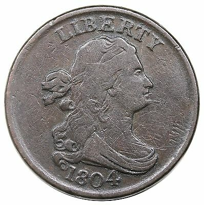 1804 Draped Bust Half Cent, Spiked Chin, C-8, F+ detail