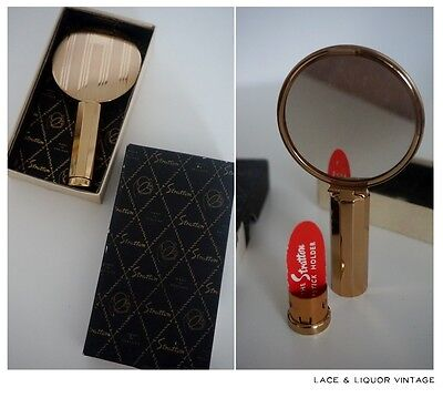 LOVELY vtg 1950s STRATTON BOXED GOLD TONE LIPSTICK MIRROR & COMPACT MIRROR 1960s