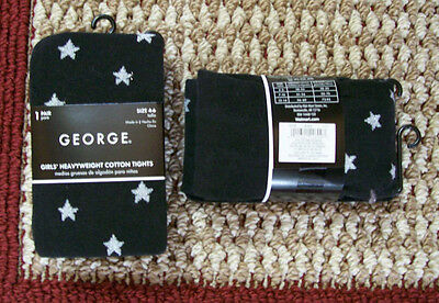 NEW! George Girls Heavyweight Cotton Tights Size 4-6 Black with Stars 38-50 lbs