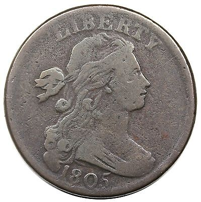 1805 Draped Bust Large Cent, Blunt 1, S-268, R.3, VG-F