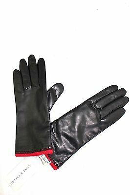 $58 LORD & TAYLOR Black Leather Red Stitching Wool Angora Lining Gloves 7.5 NWT