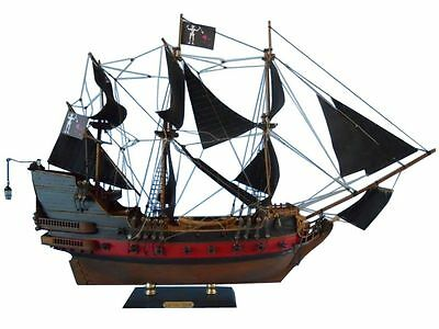 "Blackbeard Queen Anne's Revenge Pirate Tall Ship 24"" Built Wood Model Assembled"