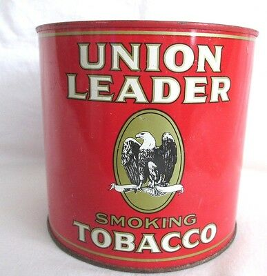 Vintage UNION LEADER Tobacco Tin Can Advertising