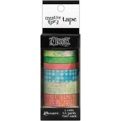 Dylusions Creative Dyary Tape - 6 Printed Rolls with Dispenser