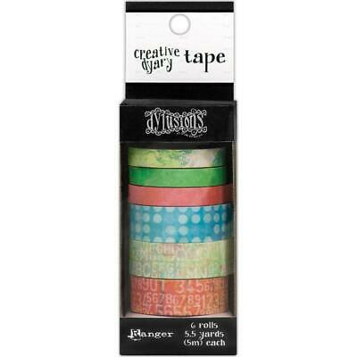 Dylusions Creative Dyary Washi Tape - 6 Rolls with Dispenser