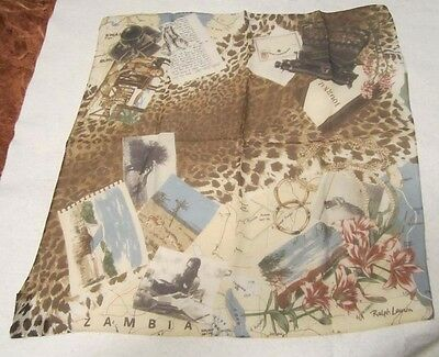 "Vintage Ralph Lauren 21"" Square 100% Silk Scarf Zambia  Sewn-On Tags Hand Rolled"