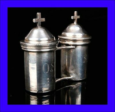 Antique Solid Silver Vessels for the Holy Oils. France, 19th Century