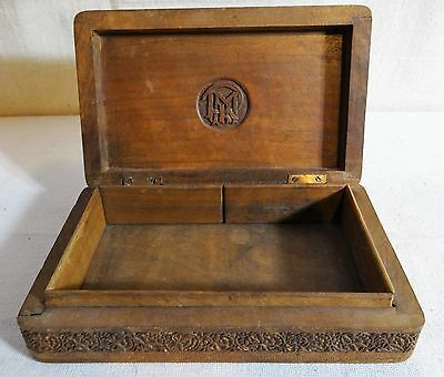 Very Good Arts and Crafts Period Carved Walnut Box w/ Monogram in Related Font