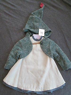 CATIMINI Little Girls Olive Dress and Cardigan  Age 2 Years